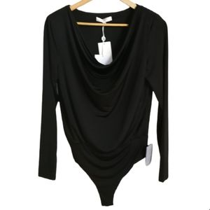 WAYF Chic Black Long Sleeves Plunge Neckline Classic Bodysuit Size Medium NWT